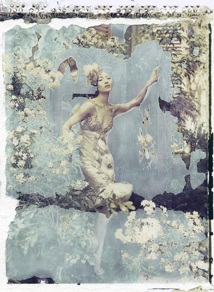 Fine art color photography of a fashion model wearing haute couture by Valentino by Valentino Garavani.
