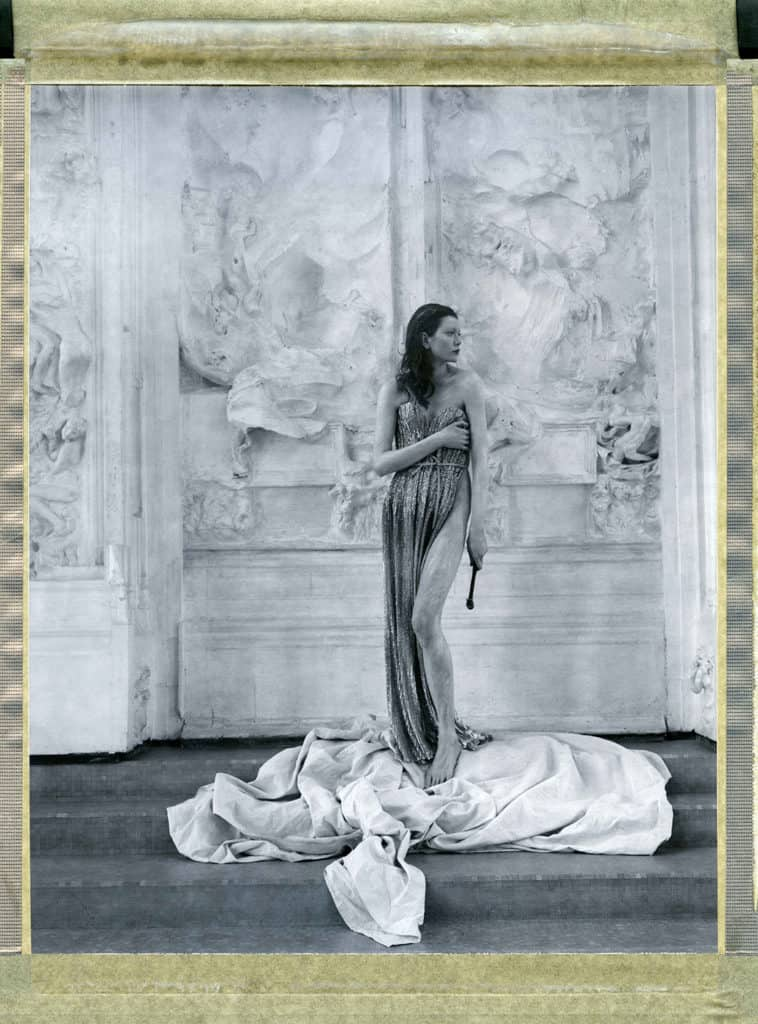 "Fine Art photography with fashion model wearing Haute Couture by Elie Saab, photographed in front of August Rodin's plaster cast of ""The Gates of Hell"" at the Musée Rodin Meudon. The photograph is an hommage to Edward Steichen."