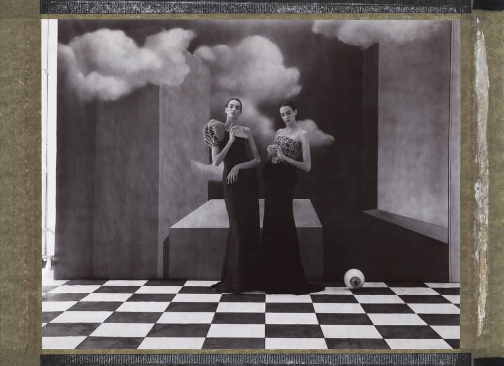 Giorgio Armani, handpainted backdrops Hommage to René Magritte. Cubism, surrealism, eye object , photo studio, twin models