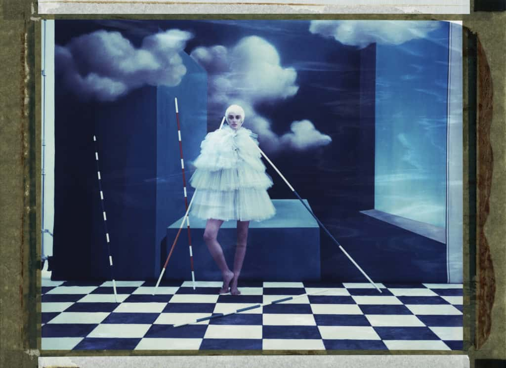 Giambattista Valli, handpainted backdrops Hommage to René Magritte. Cubism, surrealism, mikado sticks , photo studio,