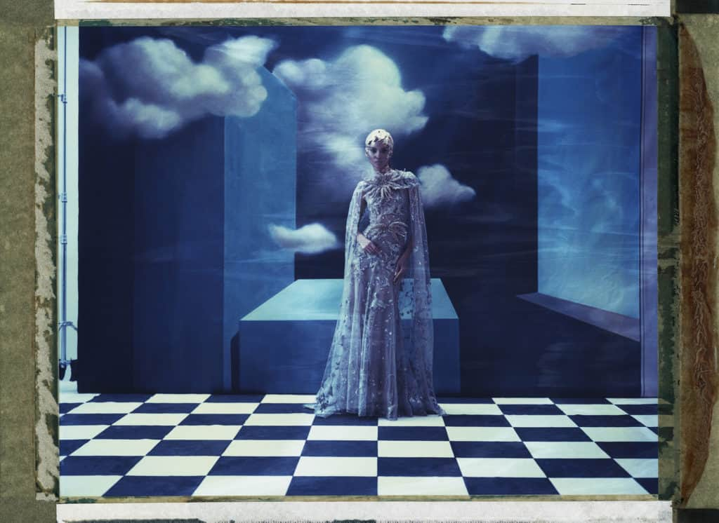 Elie Saab, handpainted backdrops Hommage to René Magritte. Cubism, surrealism , photo studio