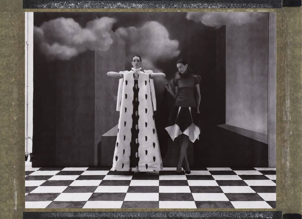 Valentino, handpainted backdrops Hommage to René Magritte. Cubism, surrealism, twin models