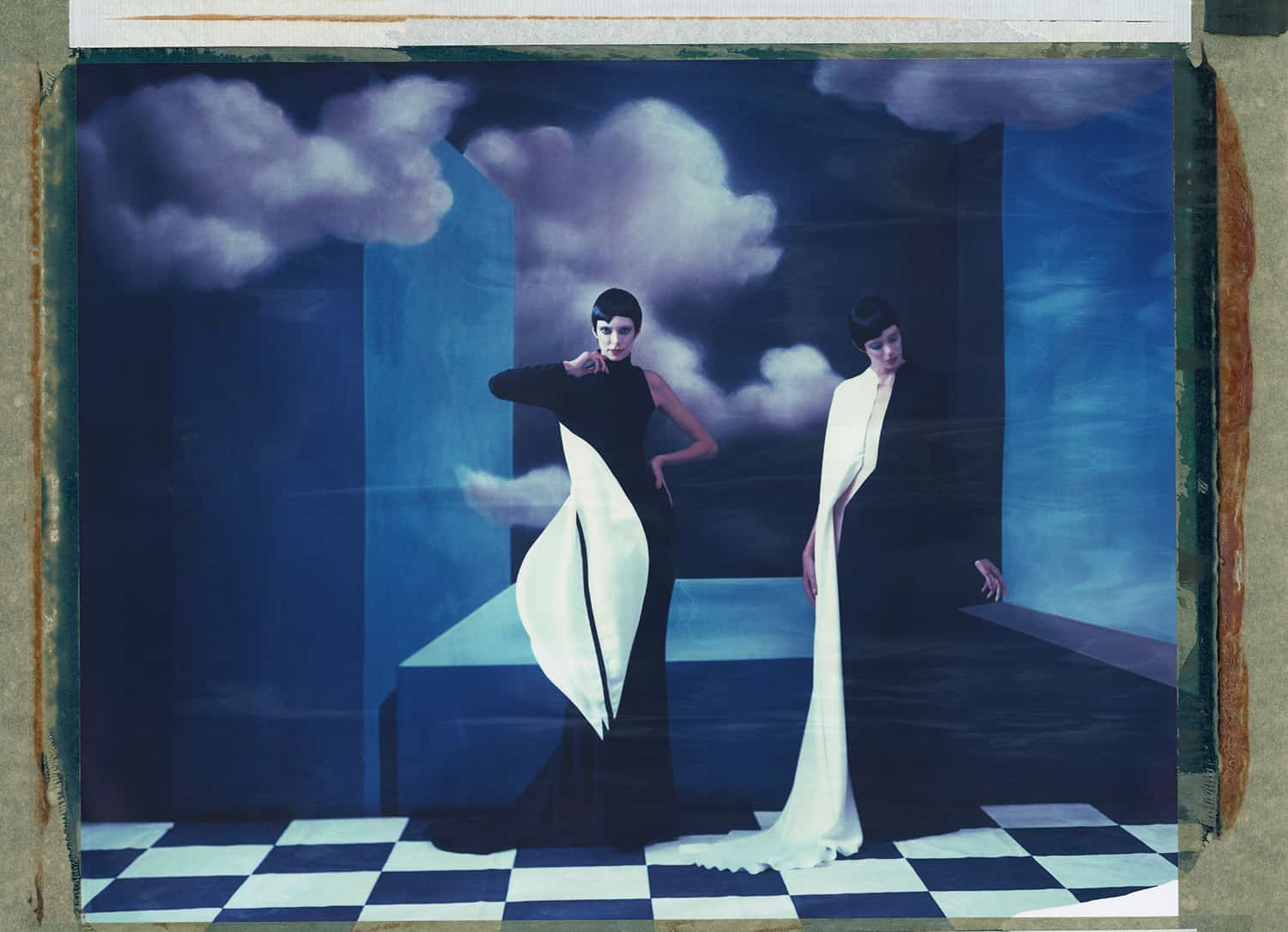 Stephane Rolland, handpainted backdrops Hommage to René Magritte. Cubism, surrealism, twin models