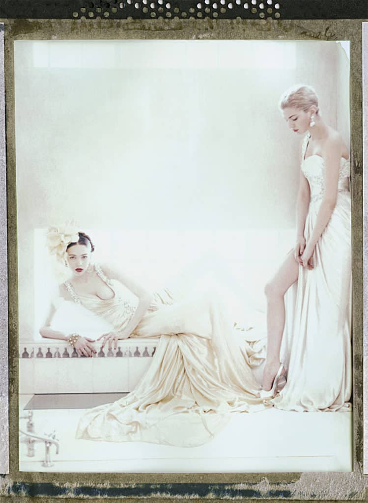 Fine art color photography of two fashion models wearing haute couture by Elie Saab and Repossi jewellery.