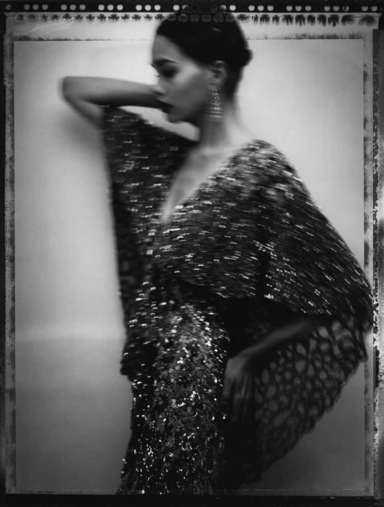 Fine art b/w photography of a fashion model wearing haute couture by Elie Saab.
