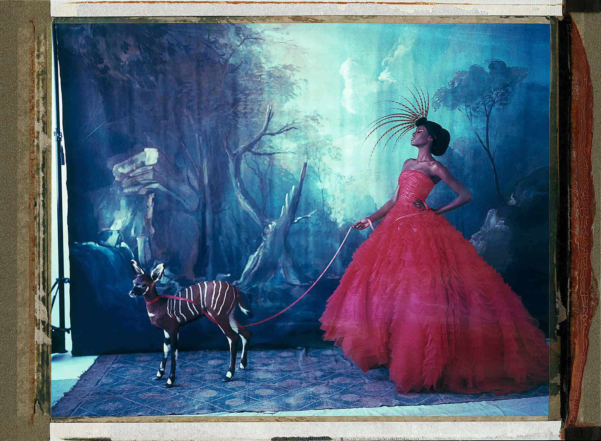 Fine art color photography of a fashion model wearing haute couture by DIOR and and hat by Philip Treacy, with a stuffed fawn. Handpainted backdrop with forest motiv.
