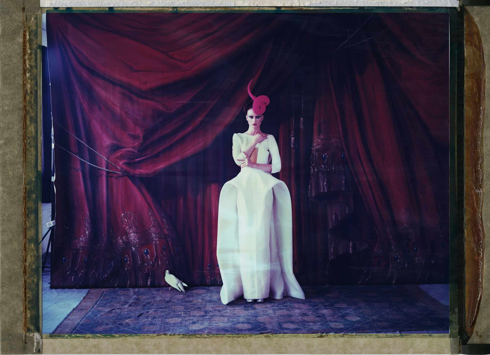Fine art color photography of a fashion model wearing haute couture by Stephane and hat by Philip Treacy, with dove. Hand-painted backdrop of opera curtain.
