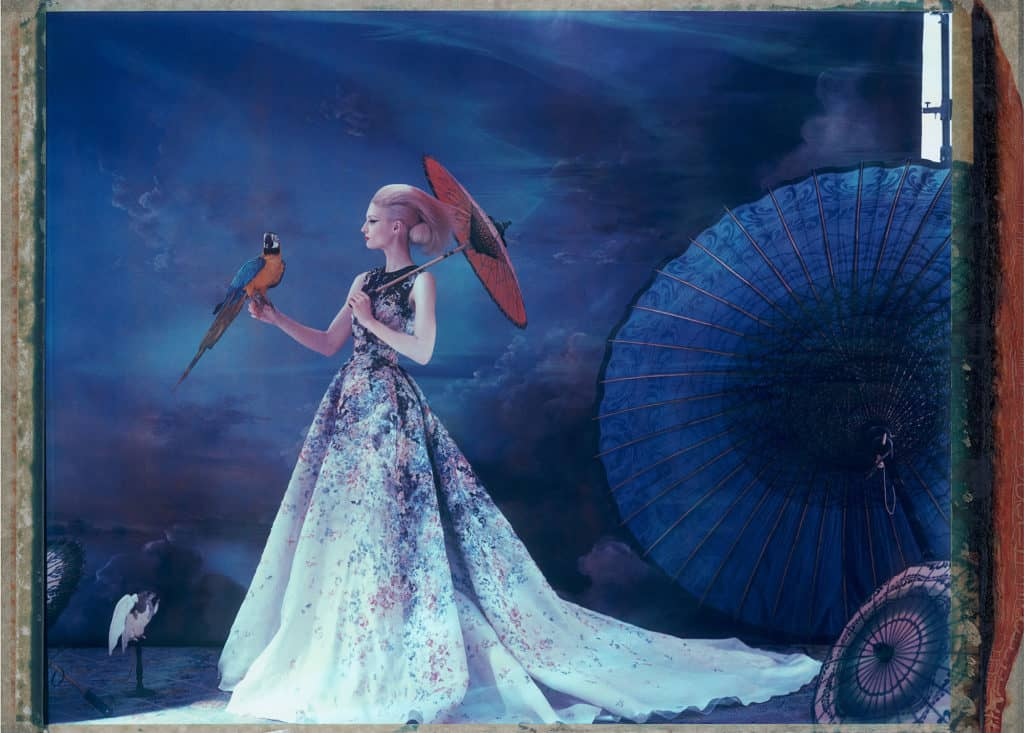 Fine art color photography of a fashion model wearing haute couture by Elie Saab with asian umbrellas and Ara bird.