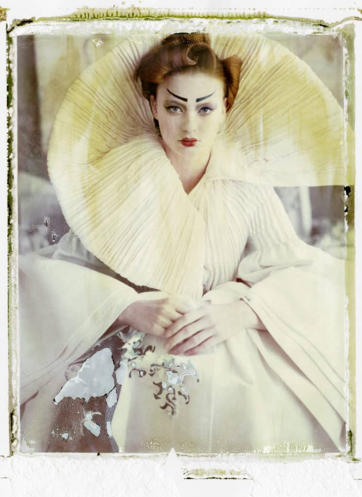 Fine art color photography of a fashion model wearing haute couture DIOR by John Galliano, Japanese Collection.