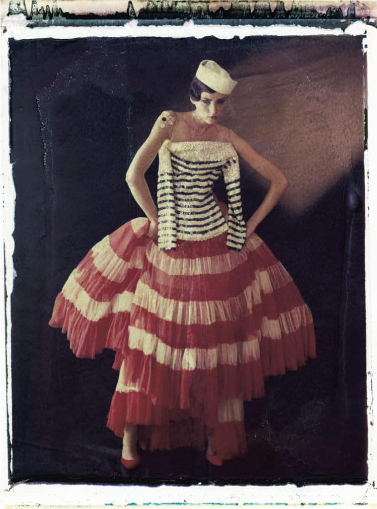 Fine art color photography of a fashion model wearing haute couture by Jean Paul Gaultier.