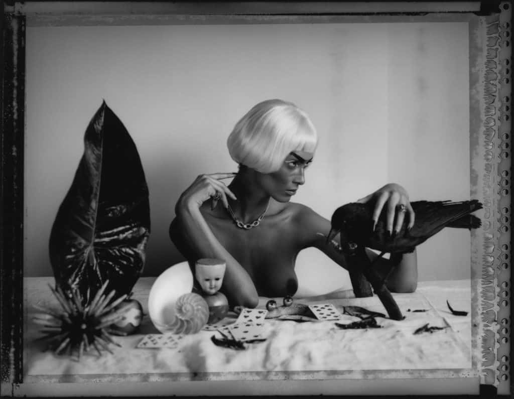 Fine art b/w photography of semi-nude fashion model wearing jewellery necklace and ring by Boucheron, sitting on a table with various object like a stuffed raven, glass eyes and playing cards.