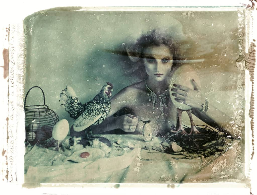 Fine art b/w photography of semi-nude fashion model wearing Chanel jewellery, necklace, bracelet, ring, sitting on a table with a stuffed chicken and eggs.
