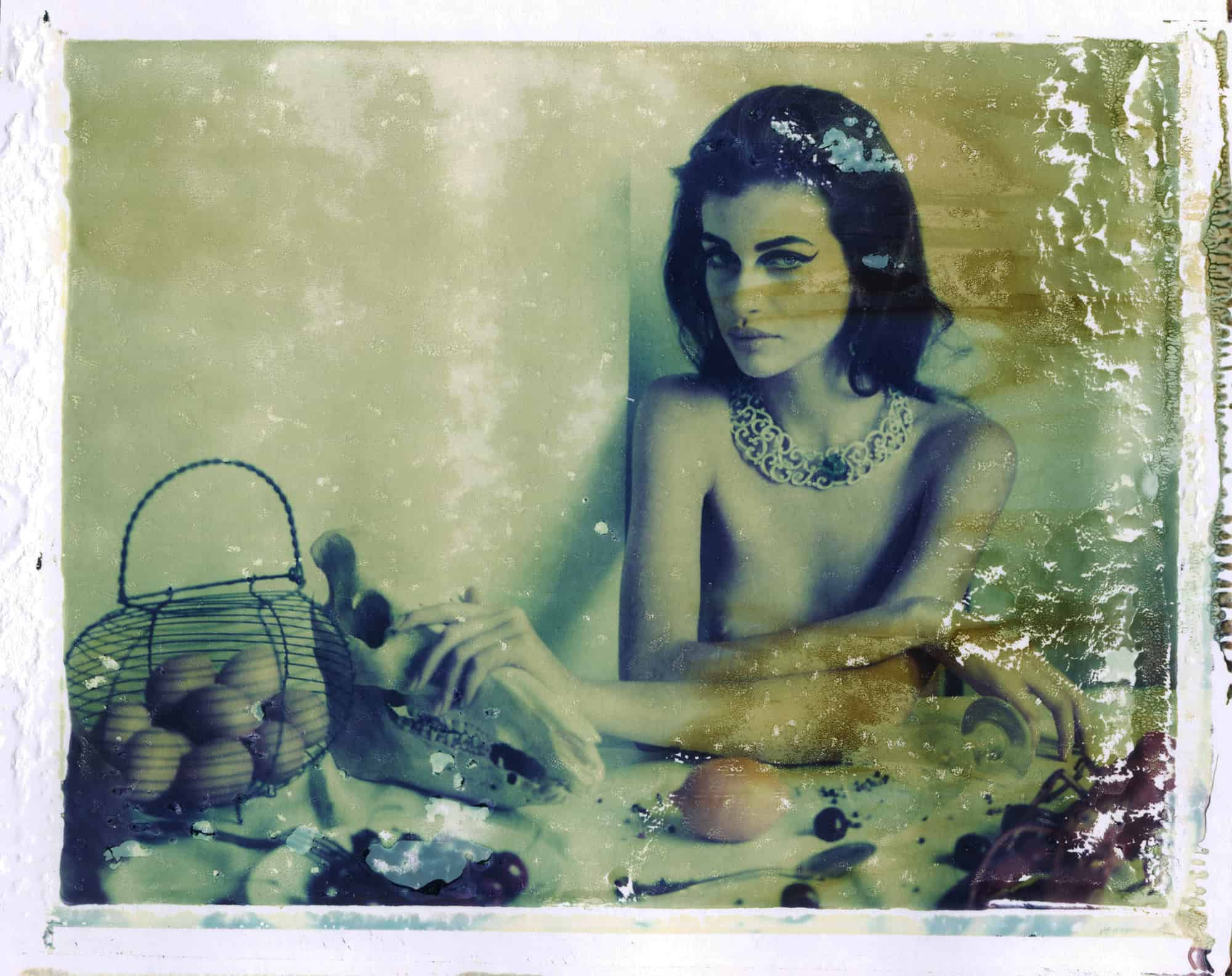 Fine art color photography of semi-nude fashion model wearing Boucheron jewellery, necklace and ring by, sitting on a table with a horse skull, lobster, e.g., influenced by flemish still life paintings.