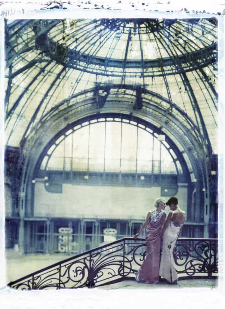 Fine art color photography of two fashion models wearing haute couture CHANEL by Karl Lagerfeld, at the Grand Palais, Paris.