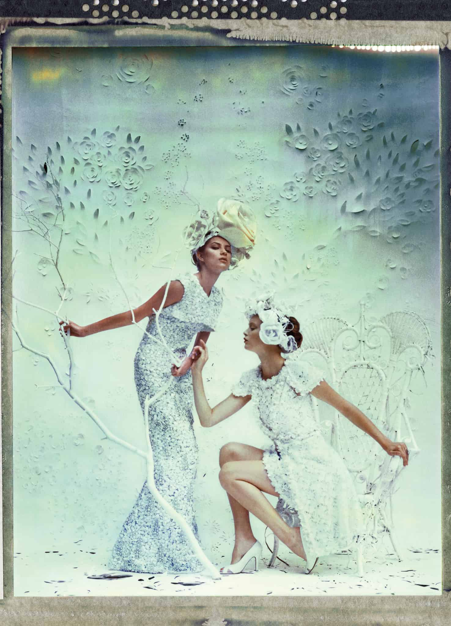 Fine art color photography of two fashion models wearing haute couture CHANEL by Karl Lagerfeld.