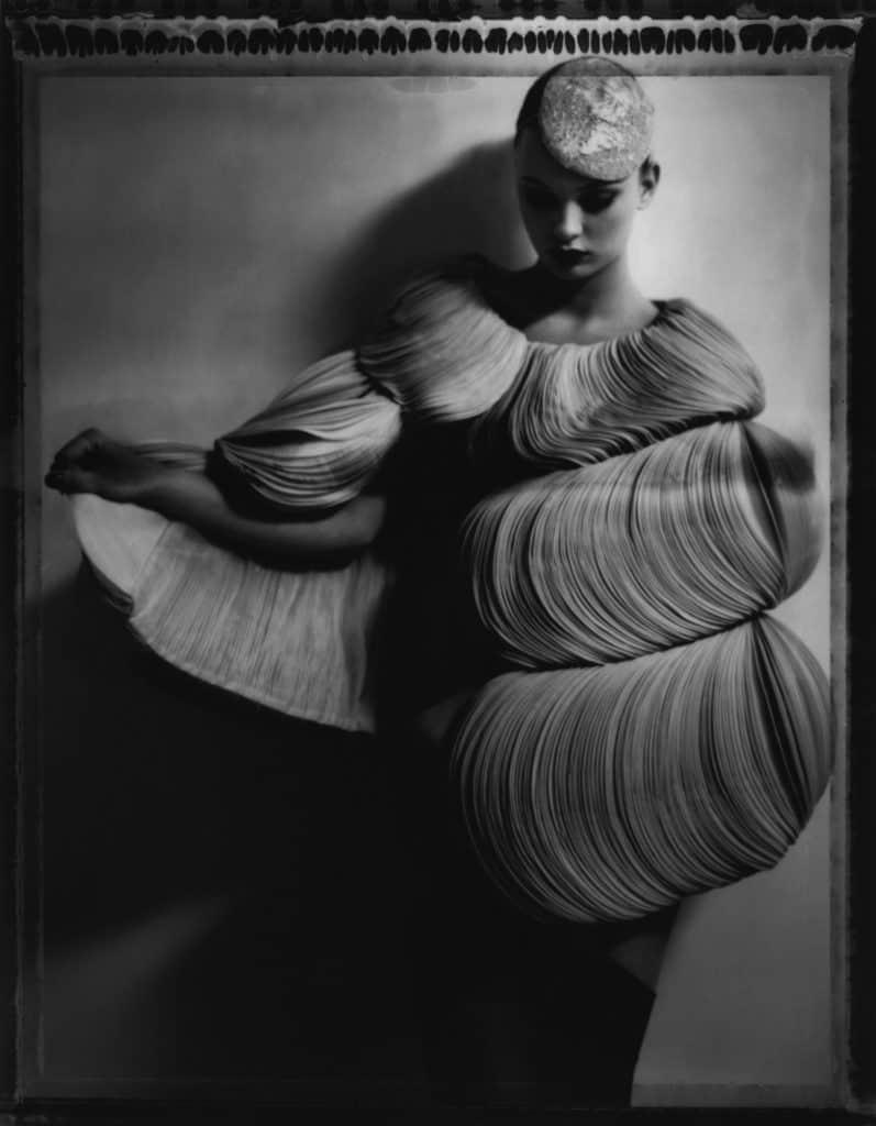Fine art b/w photography of a fashion model wearing haute couture by Valentino by Valentino Garavani.